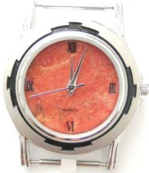 Men's Natural Apple Coral Etched Stainless Watch Face - #4M