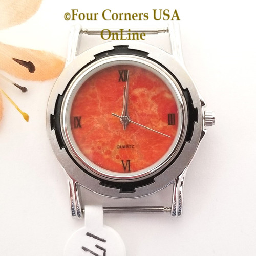 Men's 17M Natural Apple Coral Etched Watch Face 18mm pin NAWF-AC-17M Closeout Final Sale Four Corners USA OnLine Southwest Jewelry Supplies