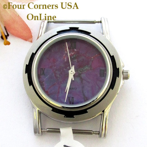 Men's 15M Mohave Purple Kingman Turquoise Stone Watch Face 18mm pin NAWF-MP-15M Closeout Final Sale Four Corners USA OnLine Native American Jewelry Supplies