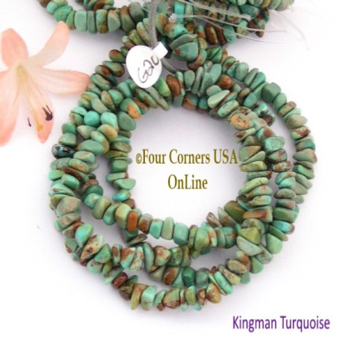 7mm Green Kingman Turquoise Nugget Bead Strands Group 20 Four Corners USA OnLine Jewelry Making Supplies