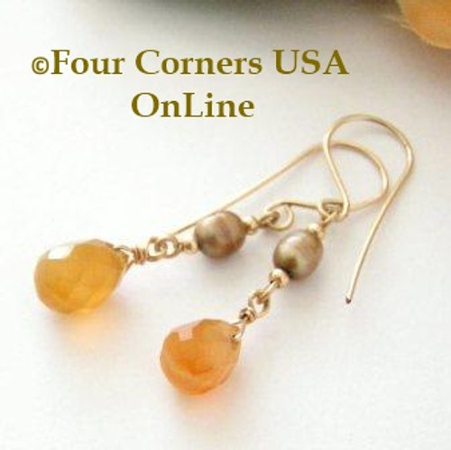 Natural Carnelian Faceted Top Drilled Briolette 14KGF Pierced Earrings FCE-12020 Four Corners USA OnLine Artisan Handcrafted Jewelry