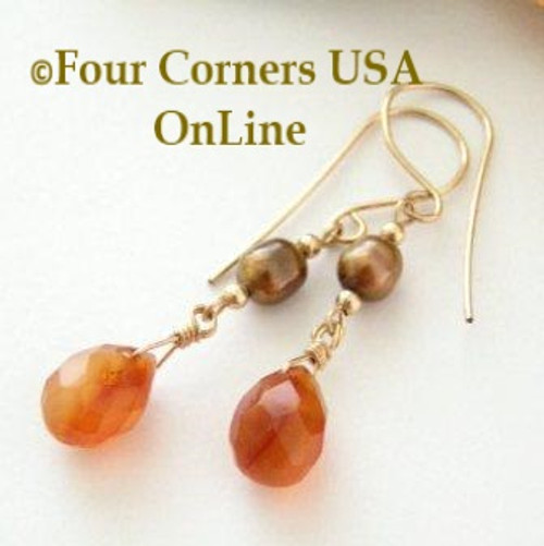 Natural Deep Carnelian Faceted Top Drilled Briolette 14KGF Pierced Earrings On Sale Now FCE-12021 Four Corners USA OnLine Artisan Handcrafted Jewelry