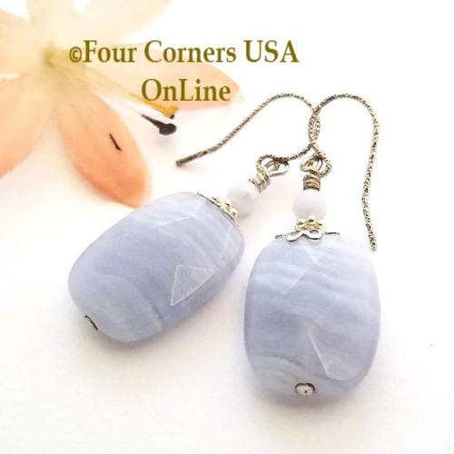 Chunky Facet Blue Lace Agate Sterling Silver Handcrafted Beaded Pierced Earrings Four Corners USA OnLine Fashion Jewelry FCE-12028