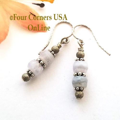 Petite Facet Blue Lace Agate Sterling Silver Pierced Beaded Earrings Four Corners USA OnLine Jewelry FCE-12027