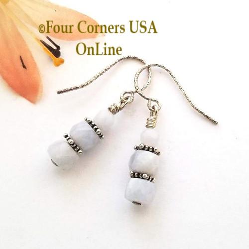 Triple Stone Blue Lace Agate Petite Facet Sterling Silver Beaded Earrings Four Corners USA OnLine Fashion Jewelry FCE-12030
