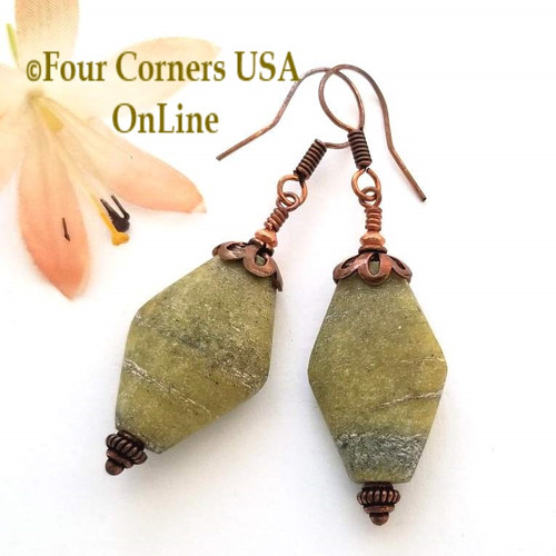 Chunky Russian Jade Handcrafted Beaded Pierced Copper Earrings FCE-12033 Four Corners USA OnLine Artisan Handcrafted Jewelry