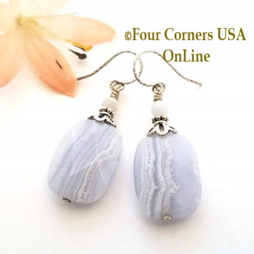 Natural Blue Lace Agate Facet Chunky Bead Sterling Silver Handcrafted Pierced Earrings On Sale Now Four Corners USA OnLine Jewelry FCE-12029