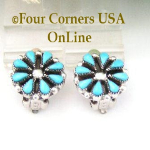 Petite Blossom Turquoise Clip On Earrings Native American Navajo Jewelry On Sale Now Four Corners USA OnLine NAER-092014