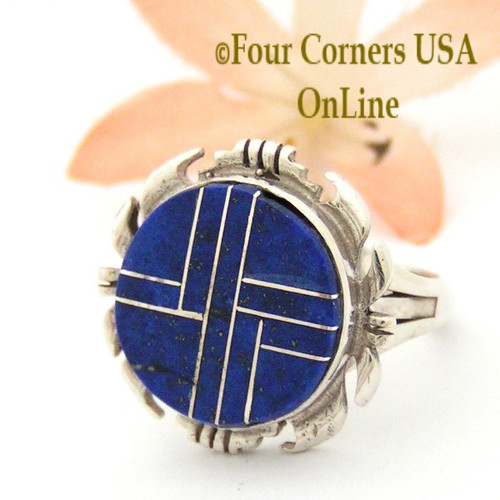 Size 7 1/2 Women's Lapis Inlay Concho Ring Four Corners USA OnLine Native American Sterling Silver Jewelry