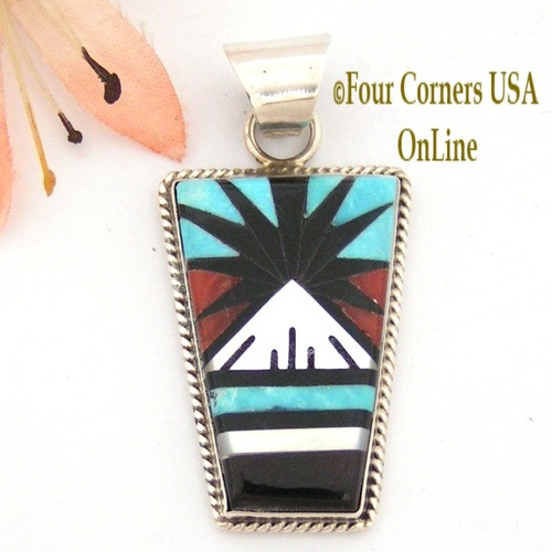 Multi Stone Inlay Sterling Native American Zuni crafted Pendant Jewelry by Leslie and Gladys Lamy Four Corners USA OnLine NAP-09411