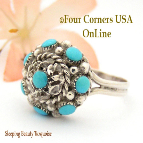 Size 7 3/4 Sleeping Beauty Turquoise Ornate Cluster Dome Sterling Silver Ring Zuni Darlene Weebothee NAR-09555 Four Corners USA OnLine