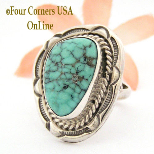 Size 7 3/4 Blue Green Turquoise Concho Ring Native American Silver Jewelry NAR-09558 Four Corners USA OnLine