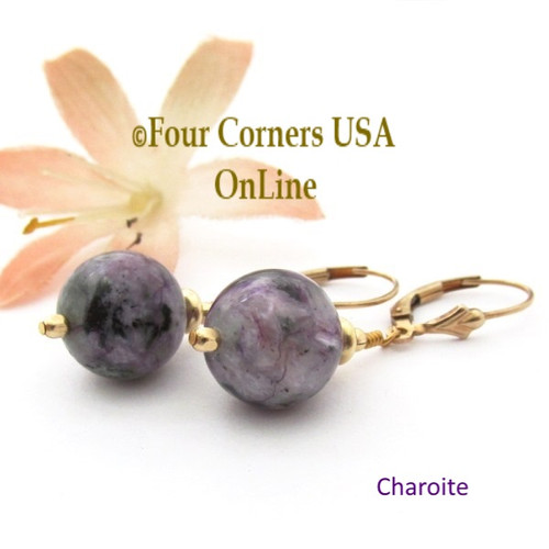 Charoite 14K Gold Filled Lever Back Bead Earrings EAR-12034 American Artisan Handcrafted Fashion Jewelry Four Corners USA OnLine