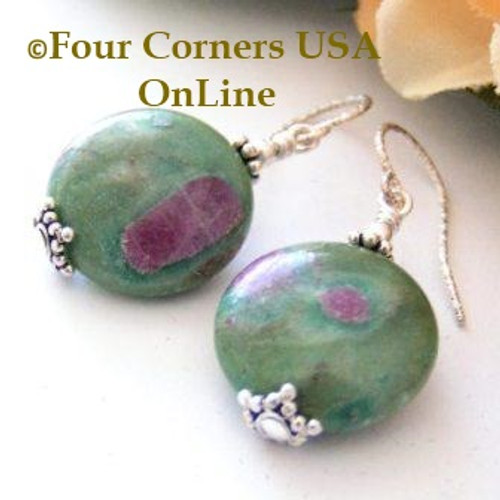 Ruby in Fuchsite Muscovite Dangle Sterling Silver Beaded Earrings FCE-12037 Four Corners USA OnLine Artisan Handcrafted Jewelry