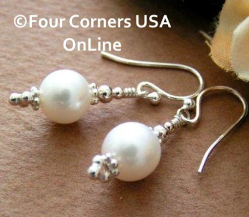 Large 9mm Round White Freshwater Pearl Sterling Silver Pierced Earrings Four Corners USA OnLine Artisan Handcrafted Jewelry