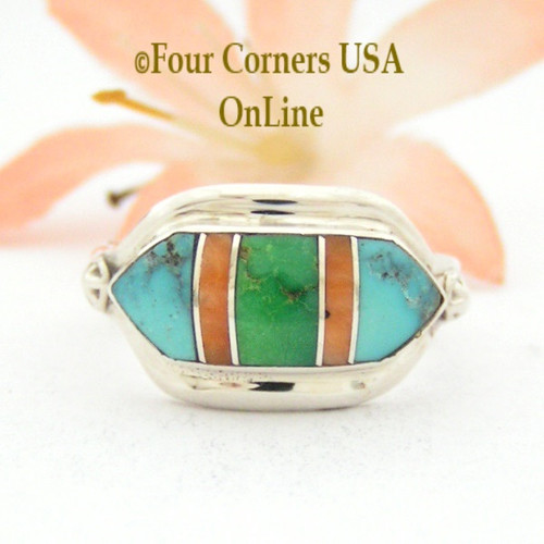Size 7 1/2 Gaspeite Spiny Turquoise Fine Inlay Ring NAR-09564 Navajo Artisan Albert Francisco Four Corners USA OnLine Native American Silver Jewelry