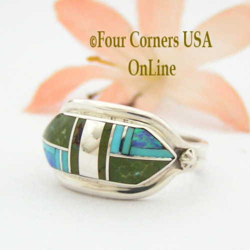 Size 7 1/2 Green and Blue Turquoise Opal Inlay Ring NAR-09565 Navajo Artisan Albert Francisco Four Corners USA OnLine Native American Silver Jewelry