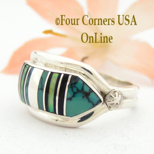 Size 7 Spiderweb Turquoise Onyx Opal Inlay Ring NAR-09566 Navajo Artisan Albert Francisco Four Corners USA OnLine Native American Silver Jewelry