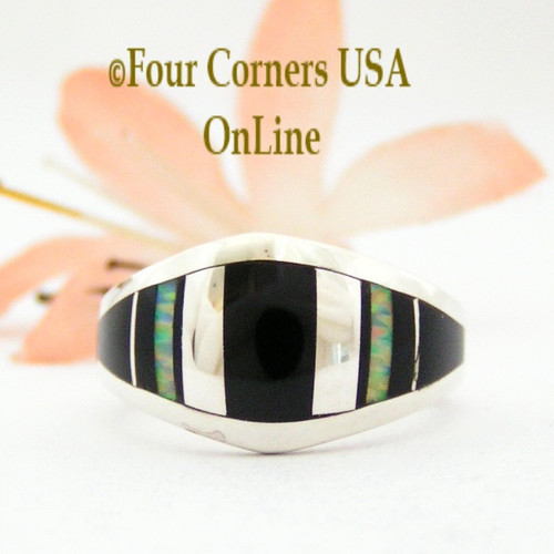 Size 7 Onyx Opal Inlay Sterling Ring NAR-09568 Navajo Artisan Robert Vandever Four Corners USA OnLine Native American Silver Jewelry