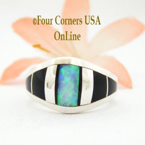 Size 6 1/2 Onyx Opal Inlay Sterling Ring NAR-09569 Navajo Artisan Robert Vandever Four Corners USA OnLine Native American Silver Jewelry