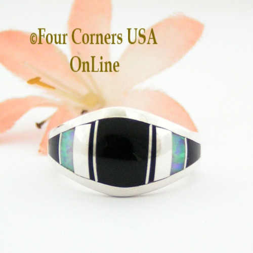 Size 7 1/4 Onyx Fire Opal Inlay Sterling Ring NAR-09570 Navajo Artisan Robert Vandever Four Corners USA OnLine Native American Silver Jewelry