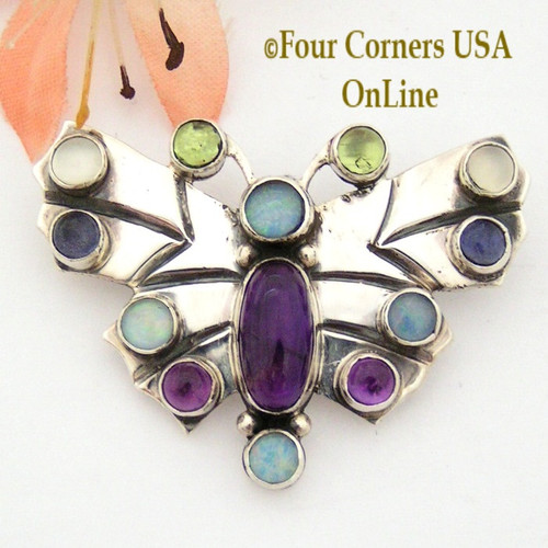 Multi Color Gemstone Butterfly Pin Brooch Native American Navajo Silver Jewelry Andy Cadman NAP-09423 Four Corners USA OnLine