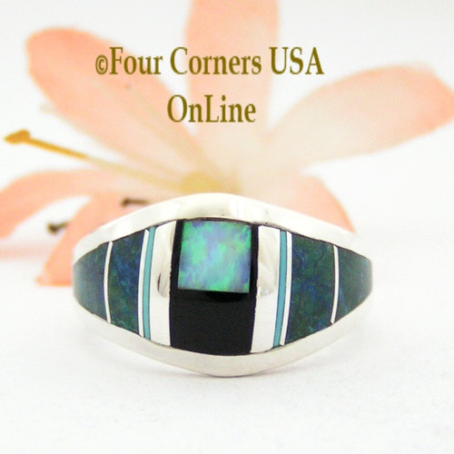 Size 6 1/4 Chrysocolla Onyx Opal Inlay Ring NAR-09572 Navajo Artisan Robert Vandever Four Corners USA OnLine Native American Silver Jewelry