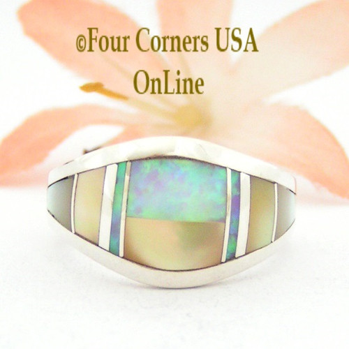 Size 6 Shell Opal Contemporary Inlay Ring NAR-09573 Navajo Artisan Robert Vandever Four Corners USA OnLine Native American Silver Jewelry