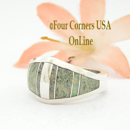 Size 6 1/4 Yellow Turquoise Opal Inlay Ring NAR-09575 Navajo Artisan Robert Vandever Four Corners USA OnLine Native American Silver Jewelry