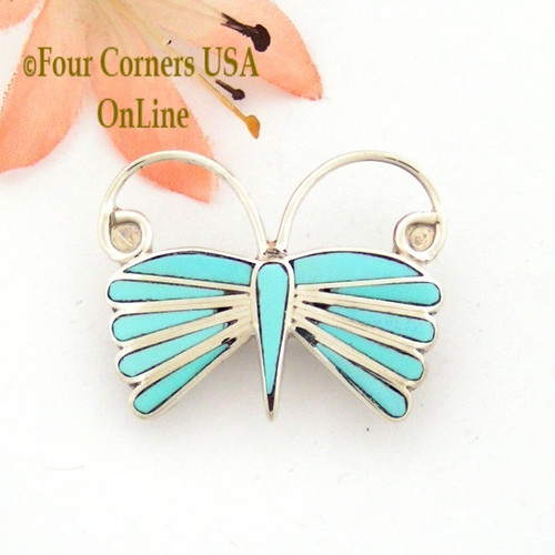Turquoise Channel Inlay Butterfly Pin Pendant Combo Native American Zuni Emma Edaakie On Sale Now Four Corners USA OnLine NAP-09426
