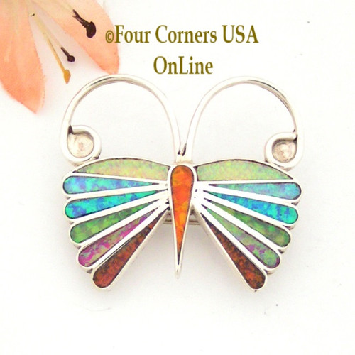 Multi Color Fire Opal Butterfly Pin Pendant Zuni Emma Edaakie Native American Indian Silver Jewelry NAP-09424 Four Corners USA OnLine