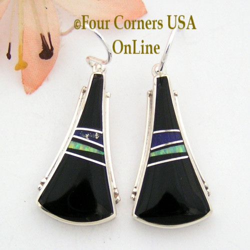 Onyx, Lapis and Fire Opal Inlay Earrings Native American Navajo Larry Chavez On Sale Now Four Corners USA OnLine NAER-092038