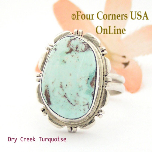 Size 8 3/4 Dry Creek Turquoise Ring Navajo Silversmith Thomas Francisco Four Corners USA OnLine Native American Jewelry NAR-09578