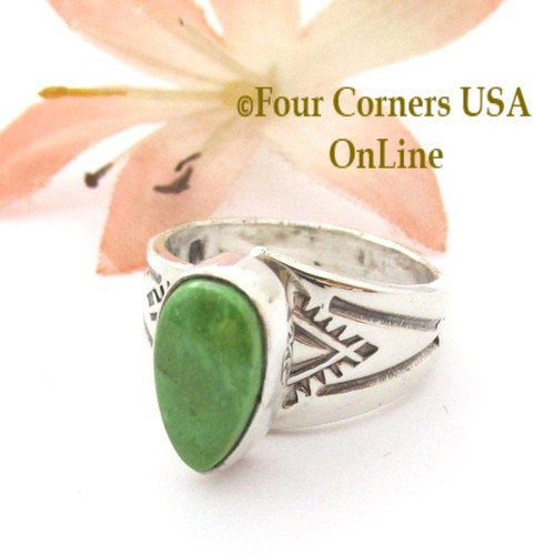 Size 5 Gaspeite Adjustable Sterling Ring Navajo Laura Plummer NAR-09583 Four Corners USA OnLine Native American Silver Jewelry