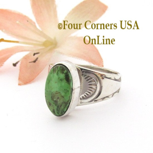 Size 6 Gaspeite Adjustable Sterling Ring Navajo Laura Plummer NAR-09582 Four Corners USA Online Native American Silver Jewelry