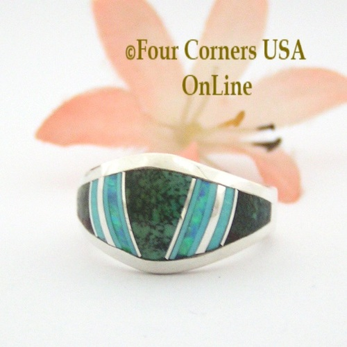 Size 6 Spiderweb Turquoise Opal Inlay Ring NAR-09588 Navajo Artisan Robert Vandever Four Corners USA OnLine Native American Silver Jewelry