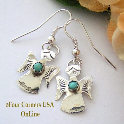 Stamped Sterling Angel Earrings with Turquoise Four Corners USA OnLine Native American Indian Jewelry Gift by Ed Abeita NAER-13001AN