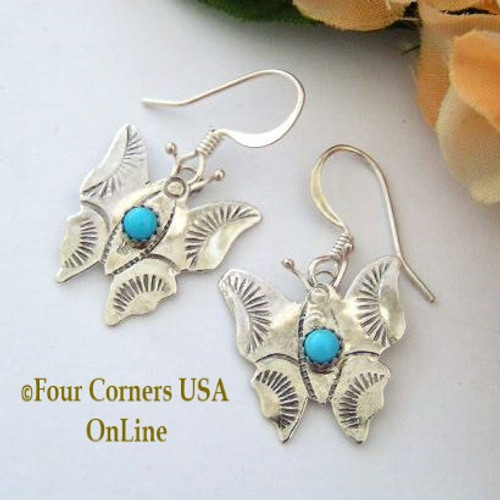 Stamped Sterling Butterfly Earrings with Turquoise Four Corners USA OnLine Native American Ed Abeita Closeout Final sale NAER-13001BF