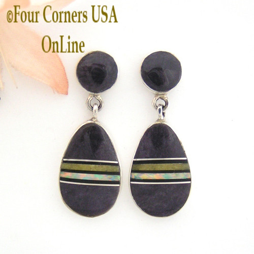 Bertrandite Fire Opal Contemporary Inlay Post Earrings John Charley Navajo Silver Jewelry On Sale Now Four Corners USA OnLine NAER-13008