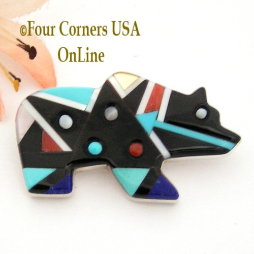 Multi Color Inlay Bear Pin Brooch Native American Silver Jewelry Zuni Silversmith Ernie Ohmsatie Four Corners USA OnLine