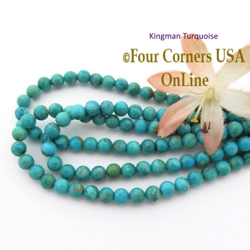 5mm Round Kingman Blue Turquoise Beads 16 Inch Strands TQ-17121 Four Corners USA OnLine Jewelry Making Beading Supplies