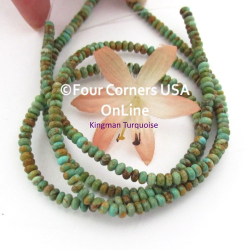 4mm Rondelle Green Copper Kingman Turquoise Beads 16 Inch Strands TQ-17112 Four Corners USA OnLine Jewelry Making Beading Supplies