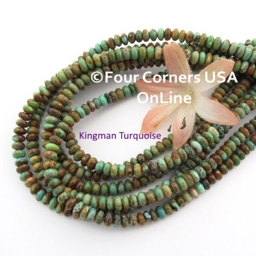 5mm Rondelle Green Copper Kingman Turquoise Beads 16 Inch Strands TQ-17102 Four Corners USA OnLine Jewelry Making Beading Supplies