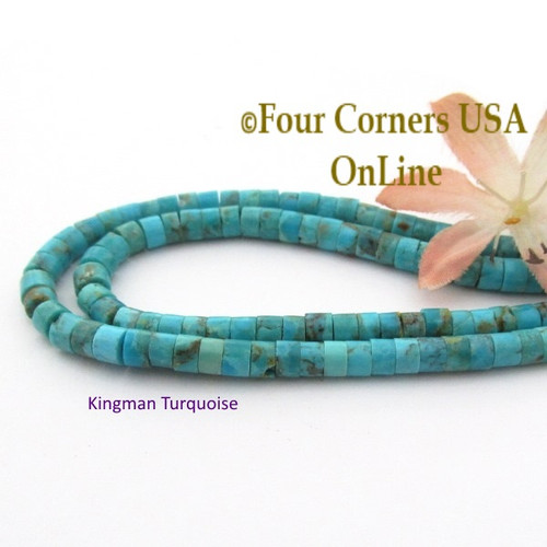 5mm Straight Heishi Blue Kingman Turquoise Beads 22 Inch Strand TQ-17116 Four Corners USA OnLine Jewelry Making Supplies