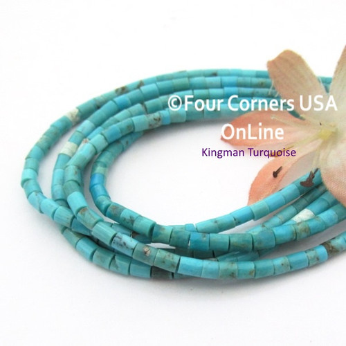 3mm Heishi Blue Kingman Turquoise Beads 22 Inch Strand TQ-17124 Four Corners USA OnLine Jewelry Making Beading Supplies
