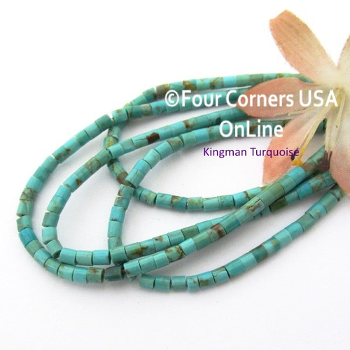 3mm Heishi Blue Green Kingman Turquoise Beads 22 Inch Strand TQ-17126 Four Corners USA OnLine Jewelry Making Beading Supplies