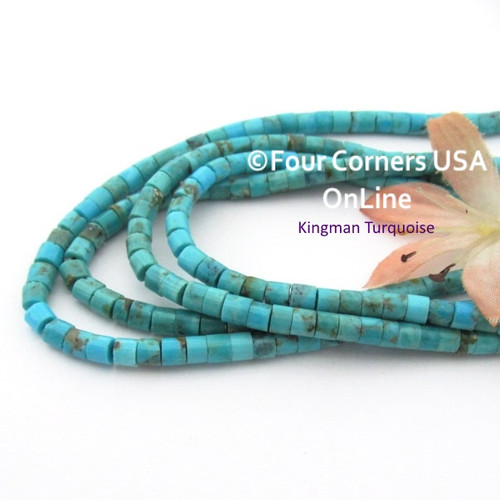 4mm Heishi Blue Kingman Turquoise Beads 22 Inch Strand TQ-17123 Four Corners USA OnLine Jewelry Making Beading Supplies