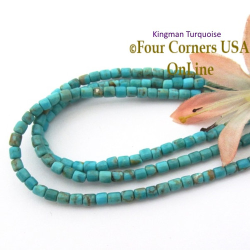 3mm Rounded Heishi Blue Kingman Turquoise Beads 22 Inch Strand TQ-17125 Four Corners USA OnLine Jewelry Making Beading Supplies