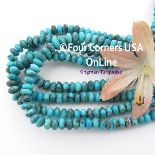 5mm Rondelle Old Blue Kingman Turquoise Beads 16 Inch Strand TQ-17107 Four Corners USA OnLine Jewelry Making Beading Supplies