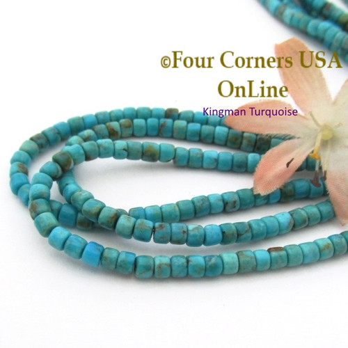 4mm Rounded Heishi Blue Kingman Turquoise Beads 22 Inch Strand TQ-17122 Four Corners USA OnLine Jewelry Making Beading Supplies